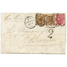 RARE 1872 cover with1871 3d rose pl 7 + pair 1872 6d chestnut pl11  London to Manila, PHILIPPINES