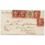 RARE 1872 cover Skibbereen, Ireland, to Australia with 4 x 1d red, 6d chestnut tied cds