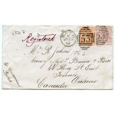 1876 registered cover to CANADA with 4d  pl.15 issue + 2½d  pl 4 from Bath