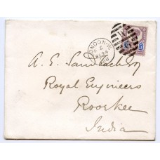 "1887 5d dull purple and blue die 1 ""Jubilee"", on cover London to India"