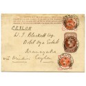 1891 ½d postal stat. wrapper + 2x ½d vermilion to CEYLON from Methven