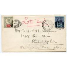 "1901  2d + 2½d on cvr to USA tied  ""K48""  ""London & Holyhead T.P.O. United States Mail"""