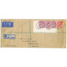 1931 strip 3 x 6d, 1d airmail service London to Australia
