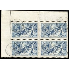 RARE 1915 De La Rue 10/- pale blue superb used corner marginal block 4 . SG 413