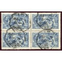 RARE 1915 De La Rue 10/- blue very fine used block x4 with London rubber ds. S.G. 412.