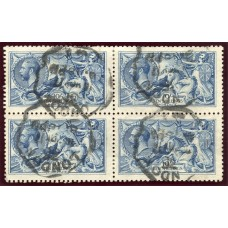 RARE 1915 De La Rue 10/- blue very fine used block x4 with London rubber ds. S.G. 412.