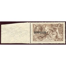 """1918 Bradbury Wilkinson  2/6d pale brown MH """"experimental"""" printing opt """"Cancelled"""""""