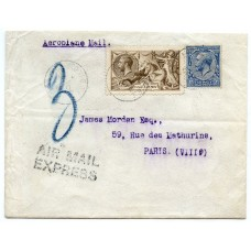 Rare 1919 Express airmail cover to France with BW 2/6 pale brown Seahorse