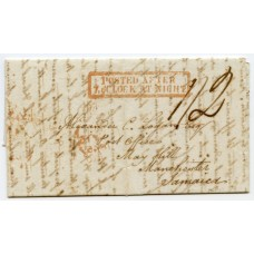 """1845 cover to Jamaica rated """"1/2d""""  with boxed """"Posted After 7 o'Clock At Night"""" handstamp."""