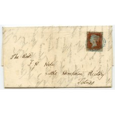 "1850 cover with Archer 1d red-brown Pl. 98 with superb blue Ashburton ""29"""