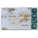 """1853 cover with strip x 4  1841 2d blue pl 4  lettered D.H./D.K. London """"7""""   to Trieste"""