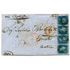 "1853 cover with strip x 4  1841 2d blue pl 4  lettered D.H./D.K. London ""7""   to Trieste"