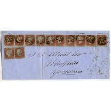 """1854 cover with 2 horizontal strips of five 1d red-brown SC perf. 16 London """"21"""" to Sheffield"""