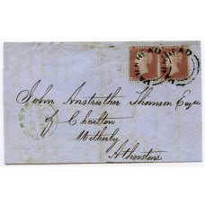 1855 Parkhead type XX Scots local handstamp on 2 x 1d stars cover to Atherstone