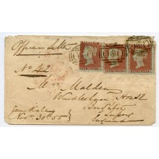 """RARE 1855 Crimea cover with """"OXO"""" cancel on 3 x 1d red-brown to UK"""