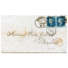 "1856 cover Liverpool to France with pair 2d blue LC Per 14 tied by Liverpool ""spoon"" ""466"""