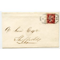 RARE 1857 Pearson-Hill Experimental Machine d.s on 1857 1d cover to Sheffield
