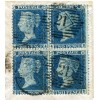 1857 2d blue plate 6, LC, Perf 14 block x4 on a wrapper to France from London