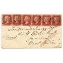 RARE 1858 cover strip x6 1d rose-red Devonport to West Indian Regt, Jamaica