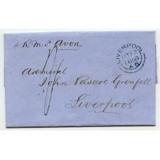 """1858 cover  Rio de Janeiro to Liverpool  British P.O.  cds + RARE """"Liverpool"""" experimental ds"""