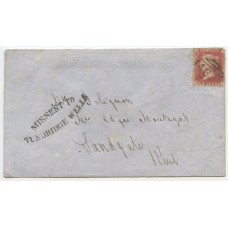 "1861 cover from Looe  ""Missent To / Tunbridge Wells"" h/s with 1d rose-red issue"