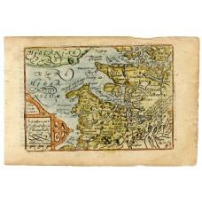 c1620 Hand coloured map of Argyllshire by Pieter van der Keere.
