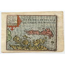 c1620 Hand coloured map of Hebrides + Western Isles by Pieter van der Keere.