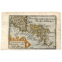 c1620 Hand coloured map of Caithness + Orkney Isles by Pieter van der Keere.