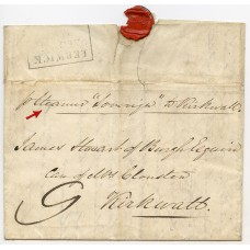"1838 cover ""per Steamer Soverign"" from Lerwick to Kirkwall rated at ""9"" (d)."