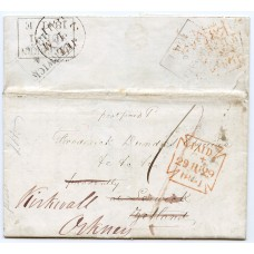 1841 cover from London addressed to Lerwick and re-addressed to Kirkwall.