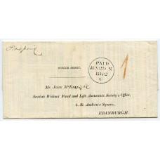 1842 printed letter-sheet from Lerwick, Shetland Isles, to Edinburgh.