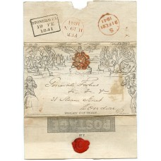 1841 1d Mulready wrapper with double-lined Stonehaven MC in red ink.