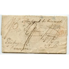 "1807 cover from Portsmouth ""Missent to Carinish"" North Uist manuscript mark."