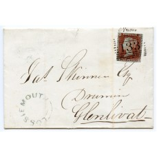 """1845 cover with 1d red-brown to Glenlivat bearing """"Lossiemouth"""" local handstamp."""
