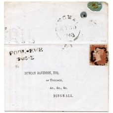1843 cover with 1d red-brown pl 28, with the distinctive Maltese cross of Pool-ewe.