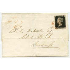 1840 cover with 1d black pl 1b from Dornoch, Sutherland, to Inverness with red MC.