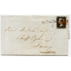 1840 cover with 1d black pl 6 from Kingussie, Inverness-shire, with double cancellation.