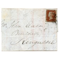 1841 cover with 1d red-brown pl 11 from Inverness to Kingussie with black Maltese cross.