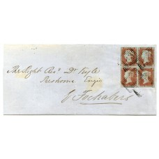 1851 cover with a block of 4 of the 1841 1d red-brown issue from Elgin to Fochabers.