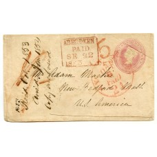 1853 1d pink postal stationery envelope to Bedford, Mass, U.S.A. from Aberdeen.