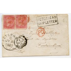 "1861 cover with a pair of 4d issues to France, with boxed ""Peterhead/Ship Letter"" mark."