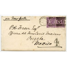1872 cover with a pair of the 6d mauve from Beauly, Inverness to Orizaba, Mexico.