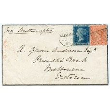 1865 cover with 2d +4d issues addressed to Melbourne, Victoria, from Aberdeen.