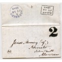 "1848 cover home made ""2"" handstamp of Banff in black ink."