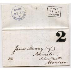 "1848 cover home made ""2"" handstamp of Banff in black ink."