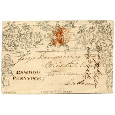 1840 1d Mulready envelope CAWDOR PENNY POST, Scotland, to London.