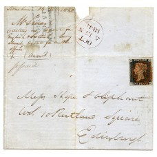 1840 cover with 1d black pl 2 with double-lined Stonehaven MC in red ink.