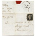 1840 cover with 1d black pl 1a cancelled by a black MC of Rothesay JN 11 1840.