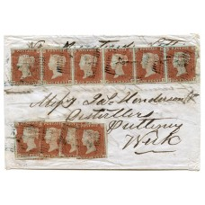 1854 cover bearing ten 1841 1d red-brown issues from Thurso, Caithness.