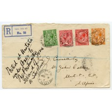 """1930 """"Registered"""" cover from Iona addressed to South Africa."""